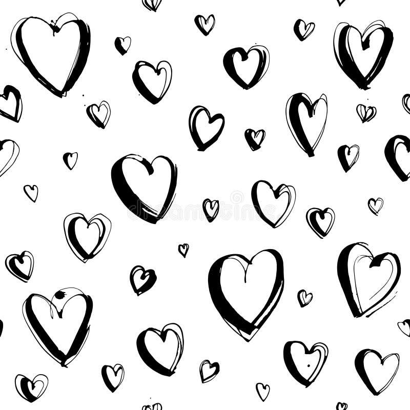 装饰手拉的情人节快乐无缝的心脏样式背景 向量例证