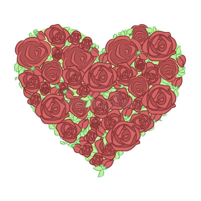 装饰手拉的花和花卉心脏 库存例证