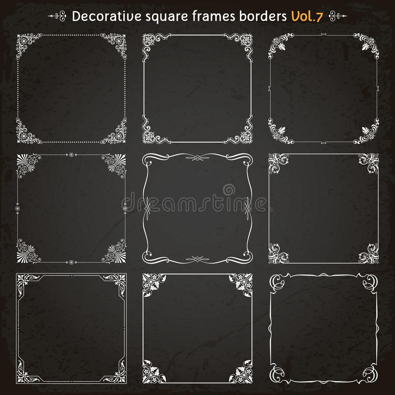 装饰方形的框架和边界设置了7传染媒介 库存例证