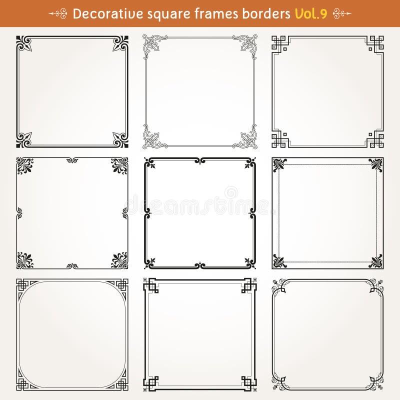装饰方形的框架和边界设置了9传染媒介 库存例证