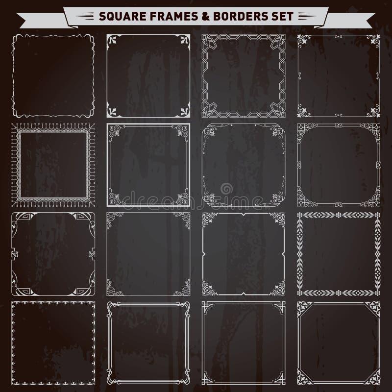 装饰方形的框架和边界 皇族释放例证