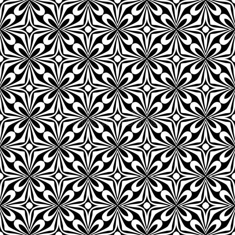 装饰无缝的花卉对角几何黑&白色样式背景 复杂,材料 库存例证