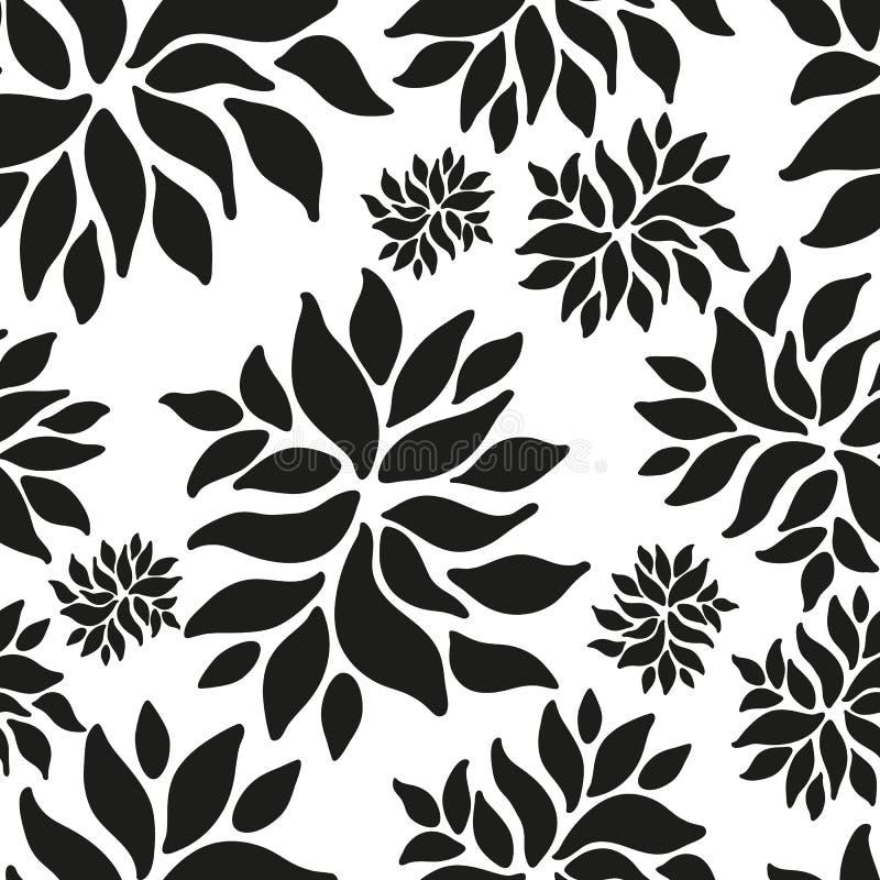 装饰无缝的花卉种族黑白样式 向量例证