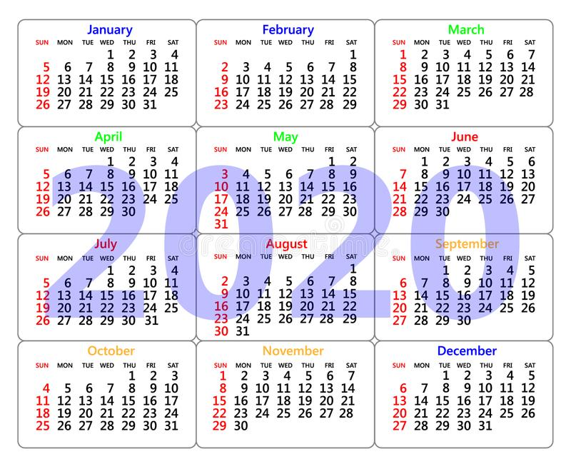 装饰日历在2020年在白色背景
