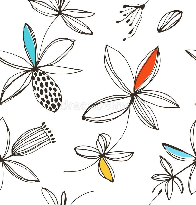 装饰明亮的花卉无缝的样式 传染媒介与幻想花的夏天背景 皇族释放例证