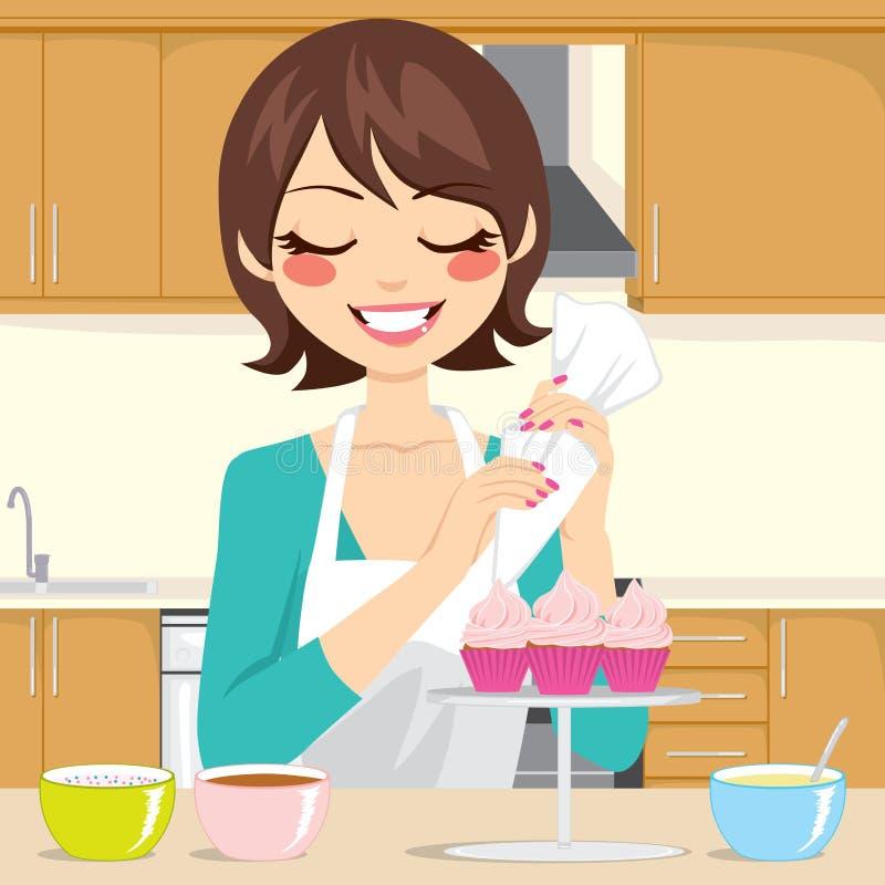装饰杯形蛋糕在厨房里 库存例证