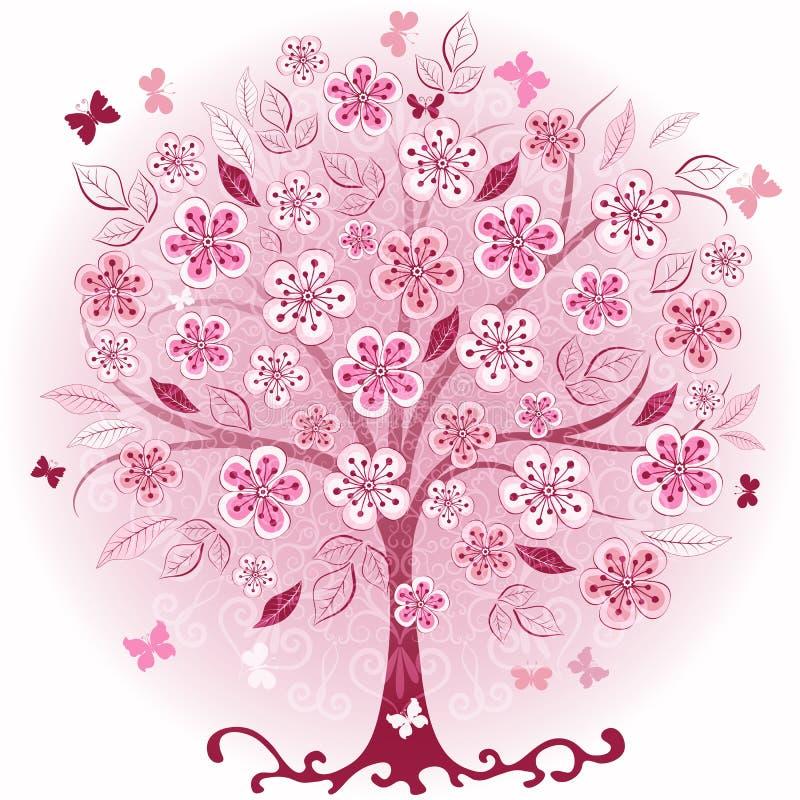 装饰桃红色春天结构树 库存例证