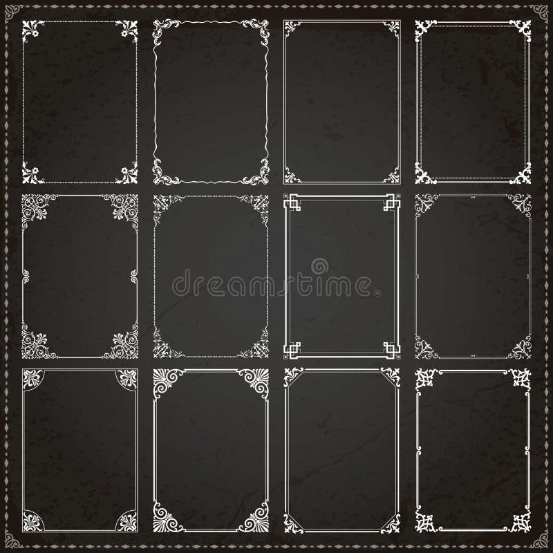 装饰框架和边界长方形比例设置了7 向量例证