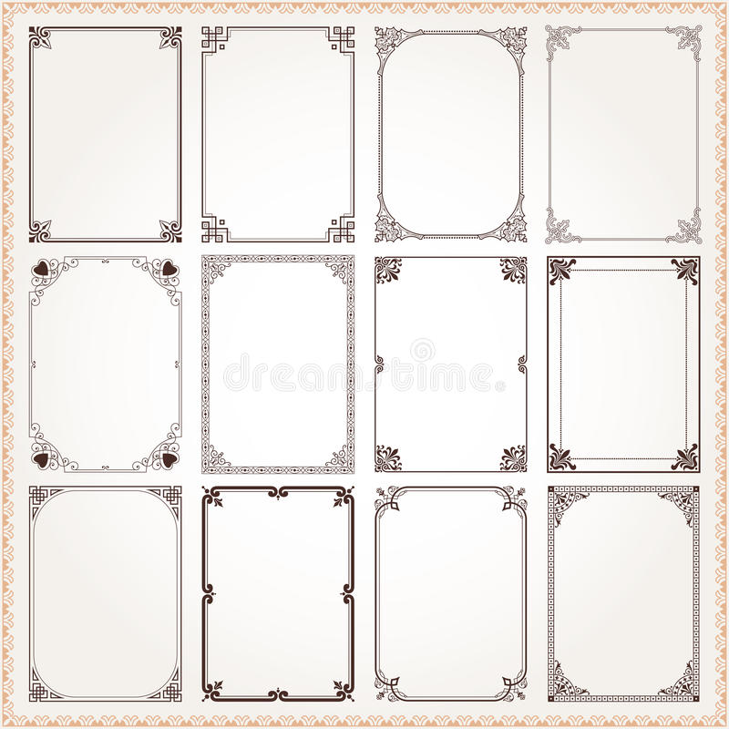 装饰框架和边界长方形比例设置了6 向量例证