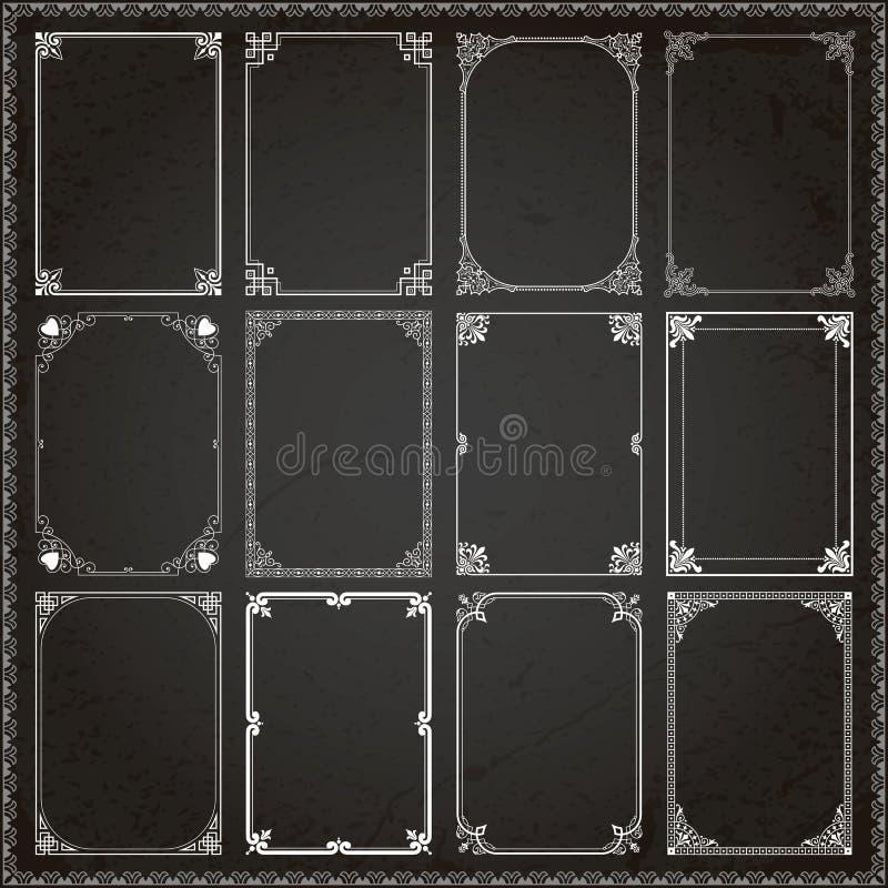 装饰框架和边界长方形比例设置了6 库存例证