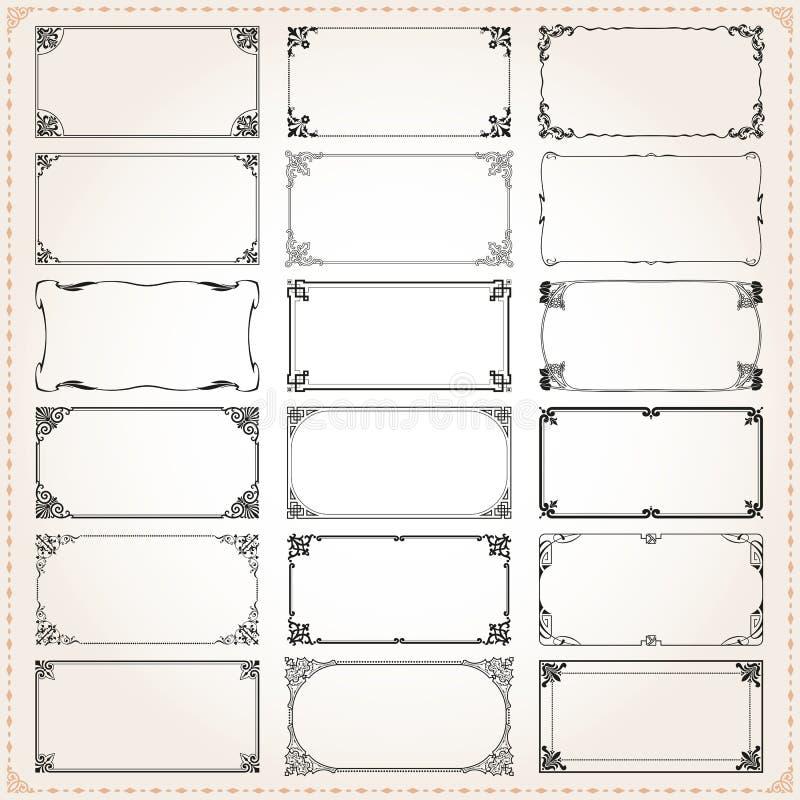 装饰框架和边界长方形2x1比例设置了4 皇族释放例证