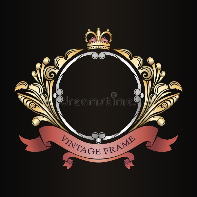 装饰框架葡萄酒 叶茂盛装饰品 组合图案的边界 豪华金黄样式 纹章学丝带 向量例证
