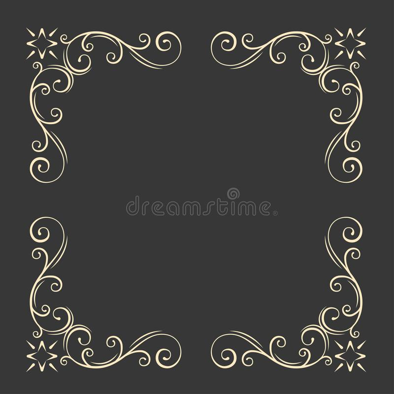 装饰框架装饰物 漩涡,花卉金银细丝工的元素 例证百合红色样式葡萄酒 婚礼邀请,贺卡设计 向量 向量例证