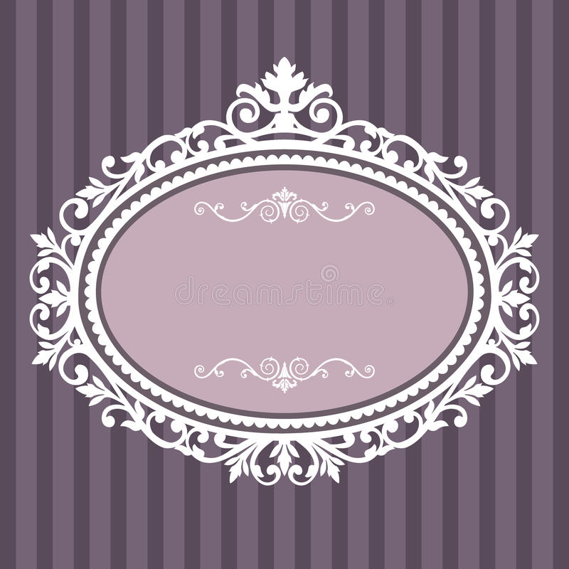 装饰框架长圆形葡萄酒 库存例证