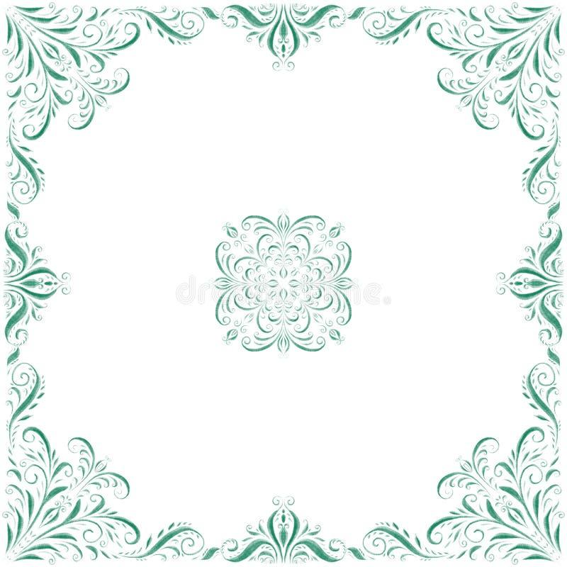装饰框架 在白色背景的绿色装饰品 皇族释放例证