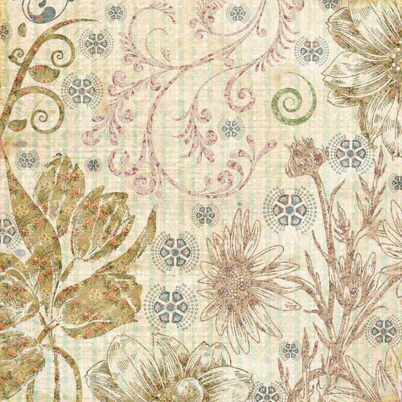 装饰植物的纸纹理 库存例证