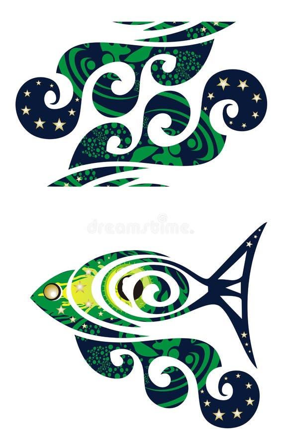 装饰波浪和鱼与波浪 库存例证