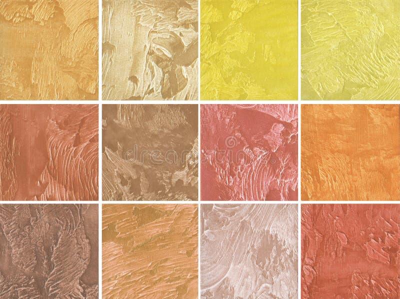 装饰涂层样品墙壁的在红色和黄色颜色 皇族释放例证