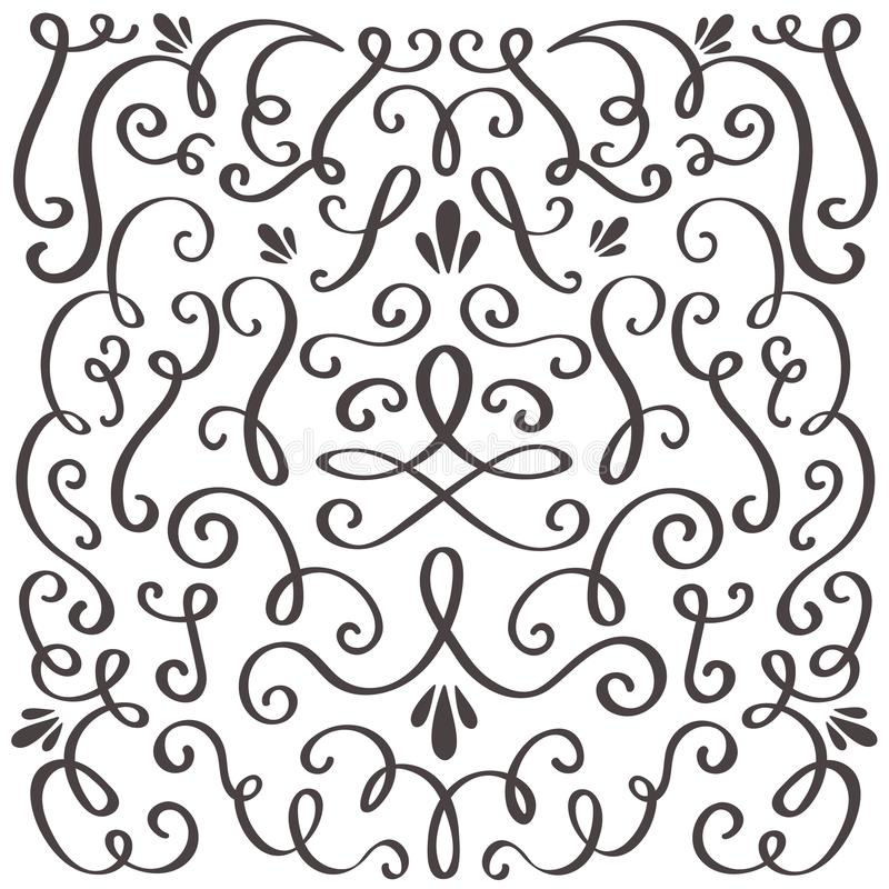 装饰漩涡 打旋的葡萄酒装饰品、打旋的边界和简单的框架 漩涡装饰边界向量图形 库存例证