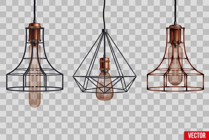 装饰爱迪生电灯泡导线树荫 向量例证
