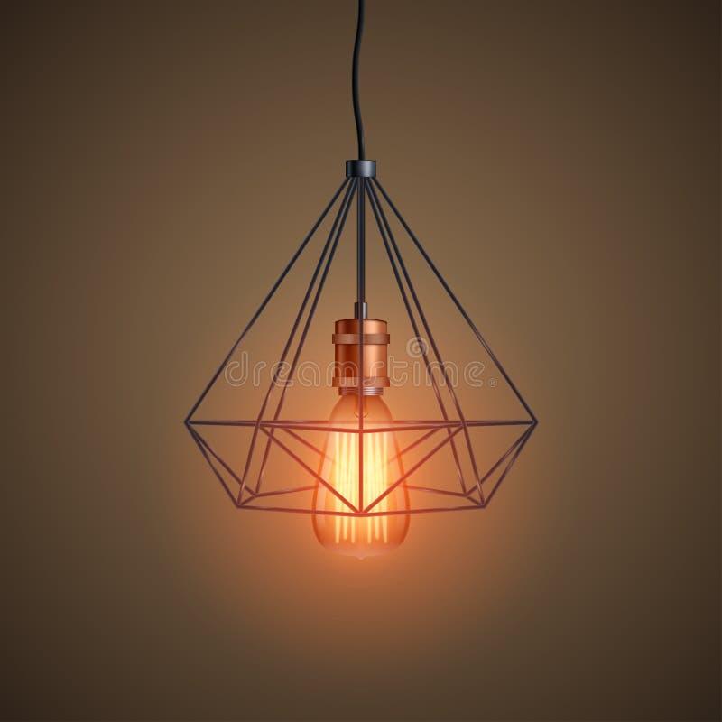 装饰爱迪生电灯泡导线 皇族释放例证