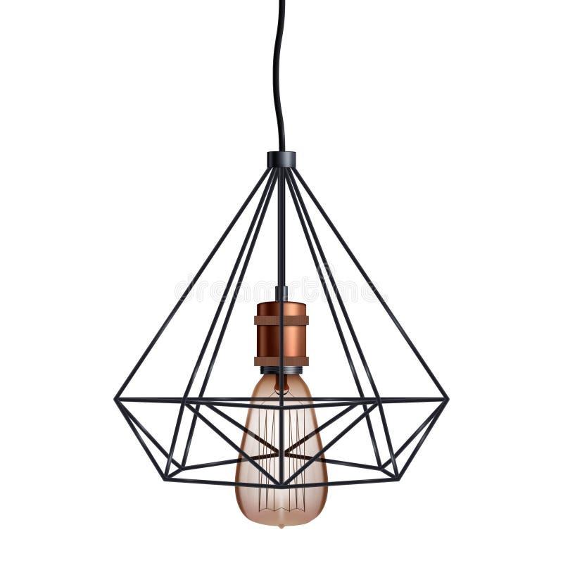 装饰爱迪生电灯泡导线 向量例证