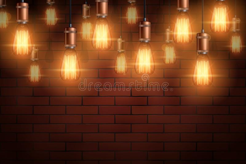 装饰爱迪生电灯泡背景 向量例证