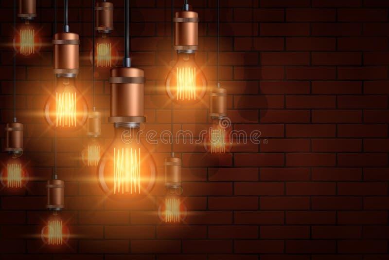 装饰爱迪生电灯泡背景 皇族释放例证