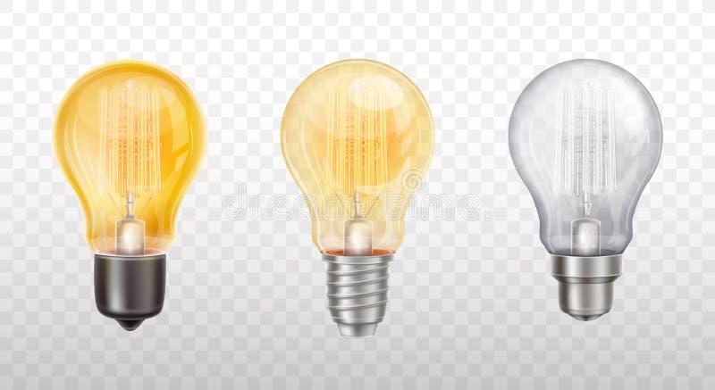 装饰电灯泡,灯的传染媒介汇集 库存例证