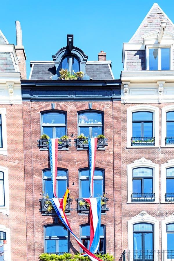 装饰的中世纪门面在阿姆斯特丹荷兰 免版税库存图片