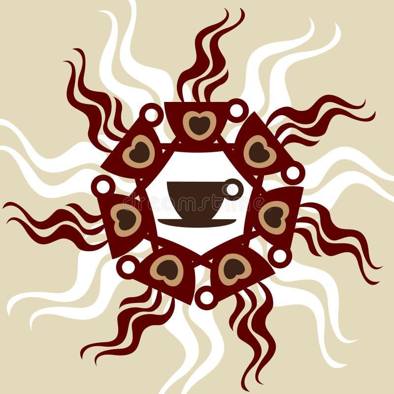 装饰的咖啡杯 皇族释放例证