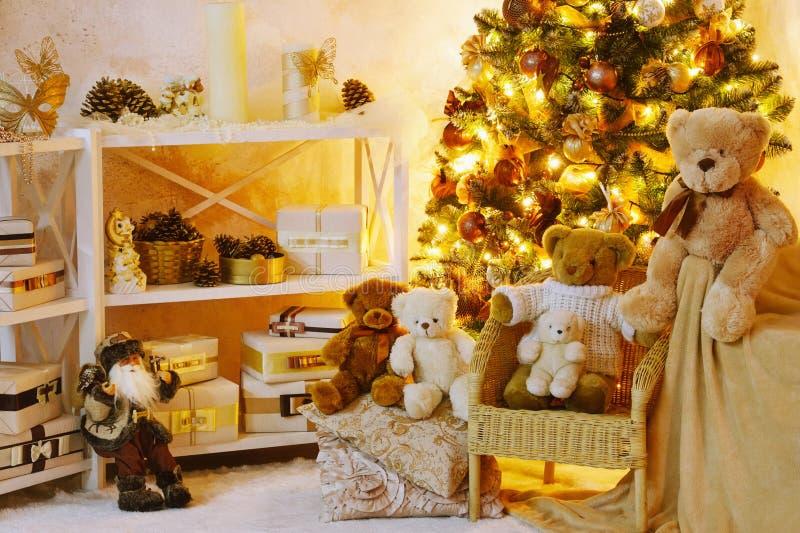 装饰的圣诞节内部角落 库存照片