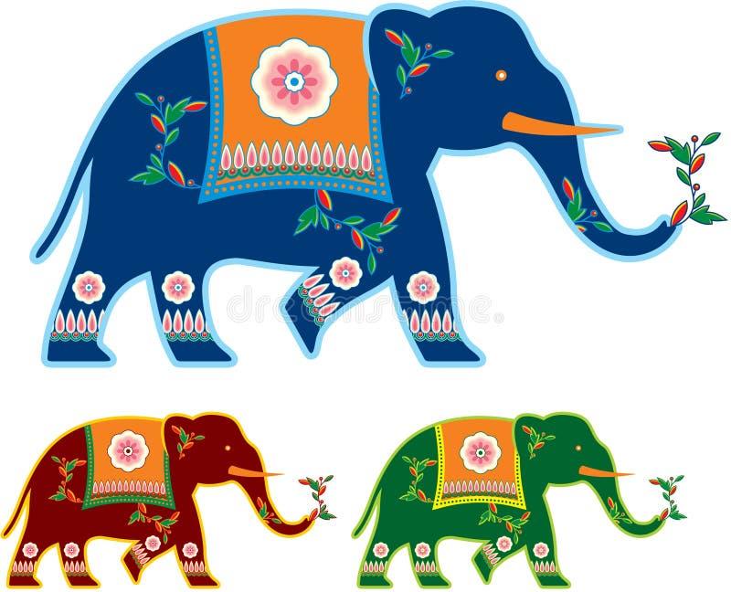 装饰的大象印地安人 向量例证