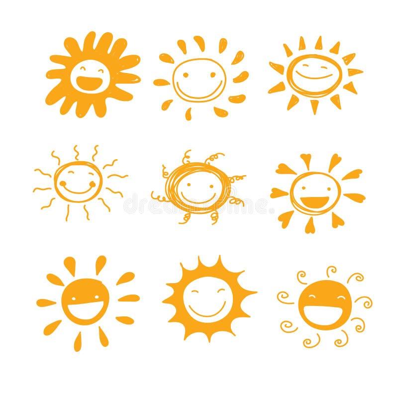 装饰的太阳微笑变化手拉的逗人喜爱的传染媒介或 皇族释放例证