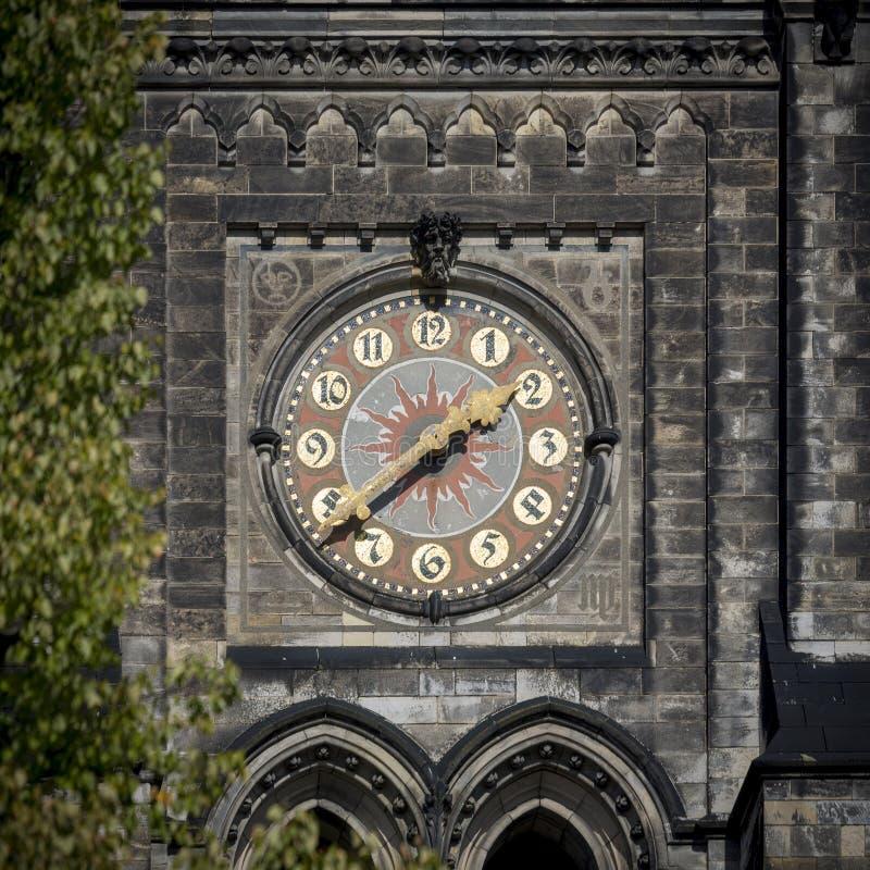 装饰的教会时钟 免版税库存图片