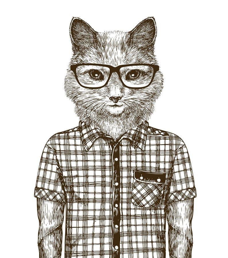 装饰的猫 行家时尚概念 剪影葡萄酒传染媒介例证 向量例证