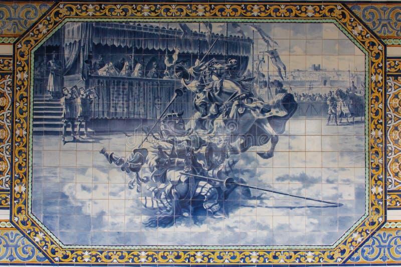 装饰的瓦片 圣地Tomas学院  科英布拉 葡萄牙 库存图片