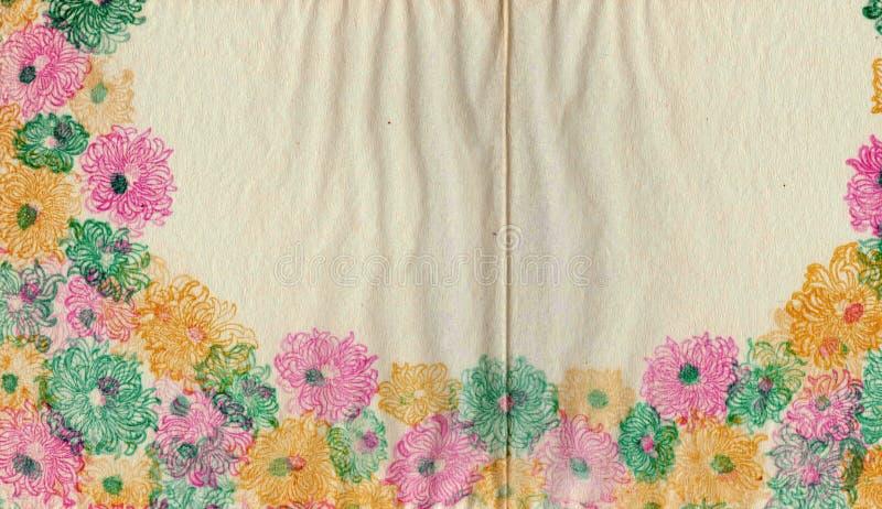 装饰的花卉包装纸 葡萄酒破旧的背景 图库摄影