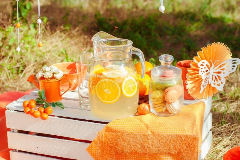 装饰的野餐用桔子和柠檬水在夏天 免版税图库摄影