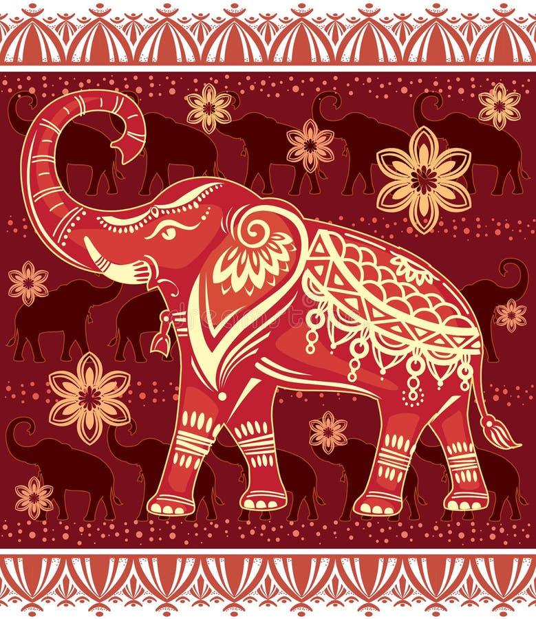 装饰的风格化大象 库存例证