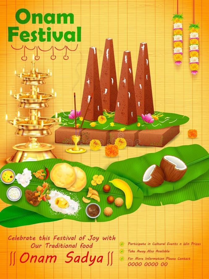 装饰的onathappan南印度喀拉拉的愉快的Onam节日的 库存例证