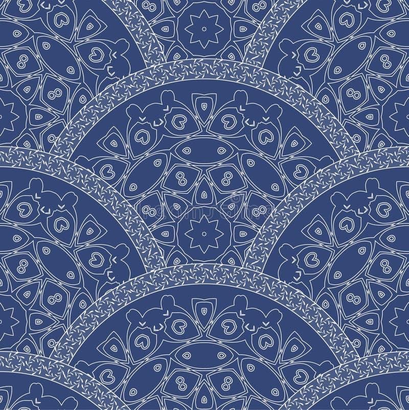 从装饰种族装饰品的抽象无缝的波浪样式与深蓝油漆纹理 规则爱好者或孔雀尾巴形状的o 库存例证