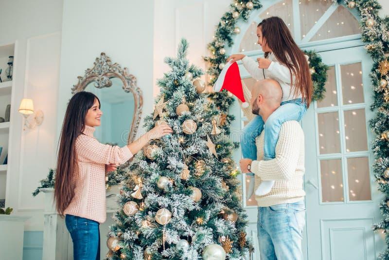装饰系族树的圣诞节 免版税库存照片