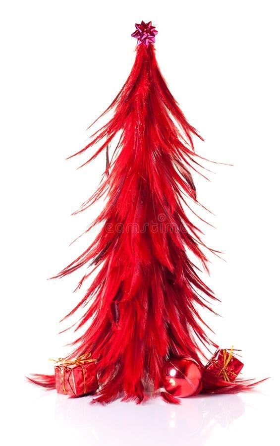 装饰红色结构树xmas 图库摄影