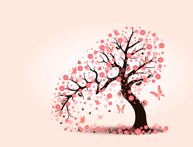 装饰美丽的樱花有背景 皇族释放例证