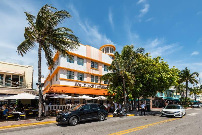 装饰艺术运动历史的区在迈阿密海滩:南海滩,佛罗里达,美国的团结的Startes 免版税库存图片