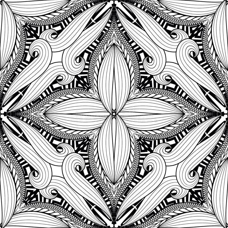 装饰花卉希腊关键河曲传染媒介无缝的样式 黑白蔓藤花纹样式背景 在白色的被隔绝的设计 向量例证