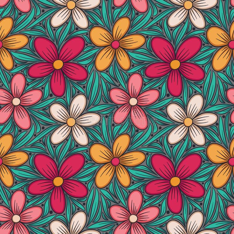 装饰花卉无缝的模式 手拉的五颜六色的风格化乱画背景 植物的传染媒介例证 皇族释放例证