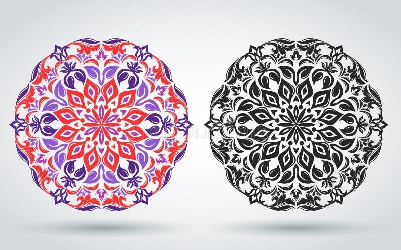 装饰花卉模式 坛场 东部,印度,土耳其语,伊斯兰教的装饰品 装饰的纺织品,横幅,海报模板 库存例证