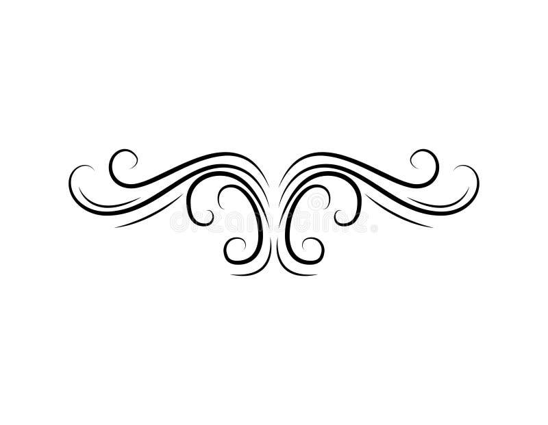 装饰花卉漩涡 葡萄酒设计元素 金银细丝工的元素 向量 皇族释放例证